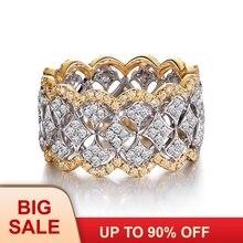 Luxo círculo largo anel de casamento feminino anéis rosa ouro 925 prata esterlina moda pequena redonda aaaaa zircon cz anel jóias