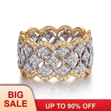 Luxury Wide Circle Women wedding band Rings Rose Gold 925 Sterling silver Fashion Small Round AAAAA zircon cz Ring Jewelry
