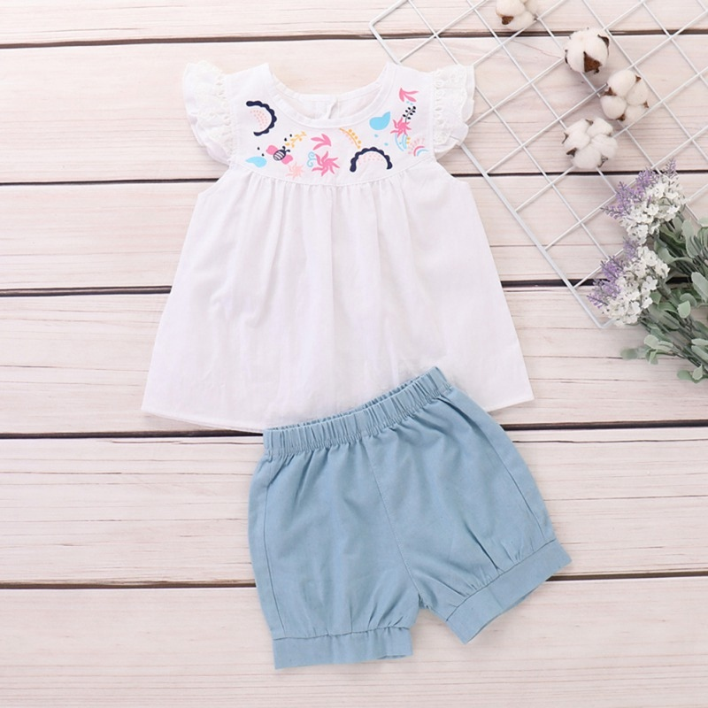 2019 Summer Baby Girls Flare Sleeve Embroidery Floral Design T-shirt Tops+Shorts Suits Casual Outfits Sets Cute 2PCS(China)