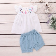 2019 Summer Baby Girls Flare Sleeve Embroidery Floral Design T-shirt Tops+Shorts Suits Casual Outfits Sets Cute 2PCS summer baby girls cloth sets polka dot print sleeveless tops shirt casual bow tie shorts suits 2pcs hot