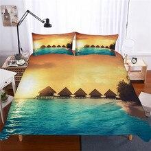 طقم سرير ثلاثية الأبعاد غطاء لحاف مطبوع طقم سرير موجة البحر المنسوجات المنزلية للكبار نابض بالحياة مفارش السرير مع المخدة # HL08