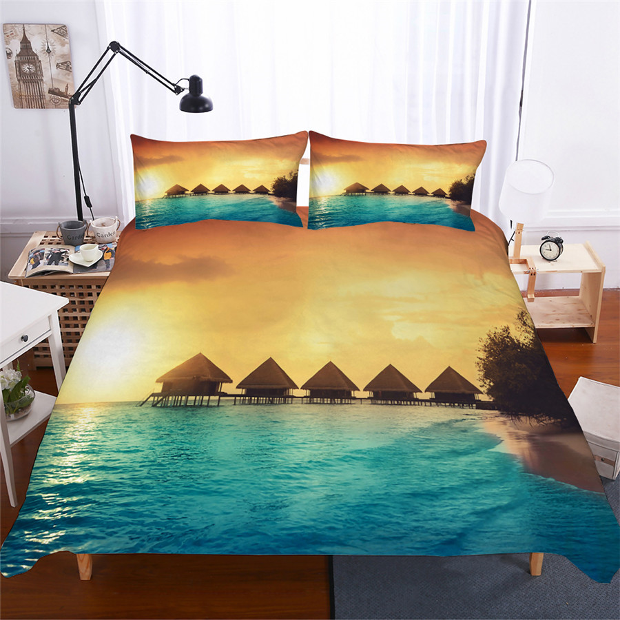 Bedding Set 3D Printed Duvet Cover Bed Set Sea Wave Home Textiles for Adults Lifelike Bedclothes with Pillowcase #HL08-in Bedding Sets from Home & Garden