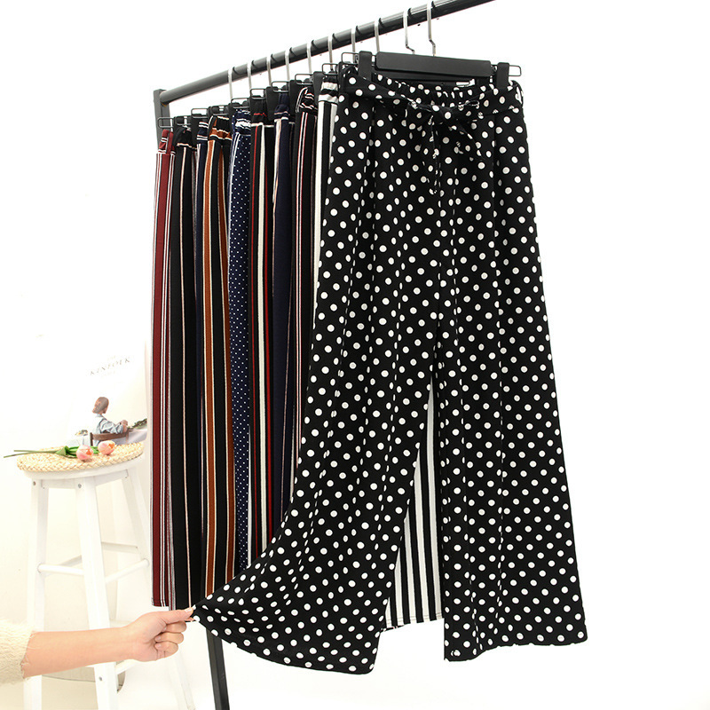 2019 Summer   Wide     Leg     Pants   Women Korean Striped Polka Dot Trousers Woman Ankle Length   Pants   Bell Bottom pantalones mujer