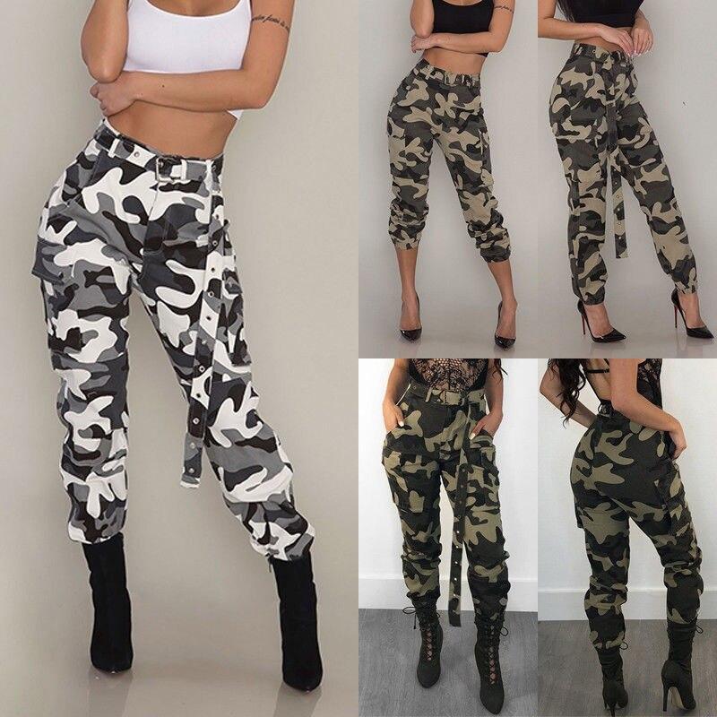 Pantalones De Camuflaje Militar Para Mujer Pantalon De Talla Grande De Cintura Alta Cargo De Camuflaje Ajustados Estilo Militar Pantalones Y Pantalones Capri Aliexpress