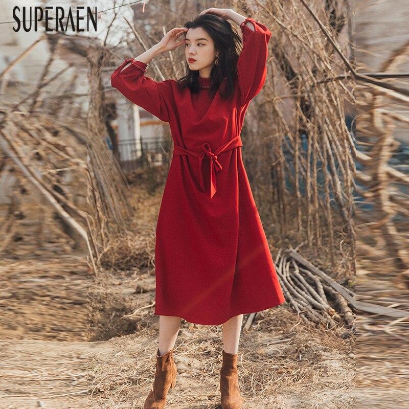 SuperAen mode solide couleur robe femme automne et printemps nouveau 2019 robe femmes à manches longues coton décontracté femmes vêtements