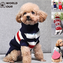 Worldour Knitted Dog Sweaters Warm Winter Apparel Chihuahua Round Neck Pet Clothes Knitwear Small