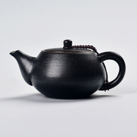 Black pottery teapot China kungfu tea set filter side anti scald rough Puer black tea single pot Infusion Ceramic kettle teaware