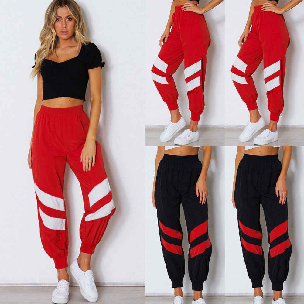 f0c8a6bf0c75 Detail Feedback Questions about Fashion Women Elastic High Waist Red Black  Sport Casual Cargo Pants Jogger Sweatpants Cool Girls All match Trendy  Trousers ...