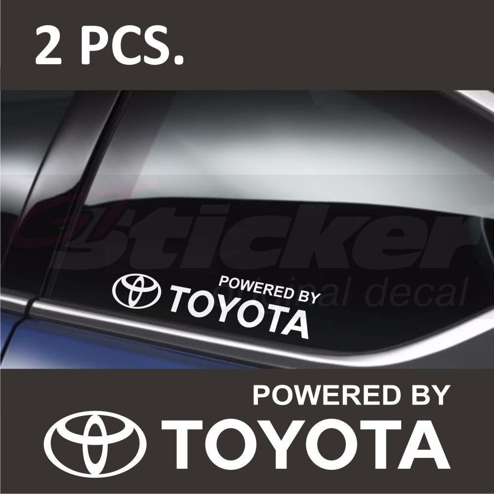2Pcs Car Stickers Powe By TOYOTA Window Decal Sticker Emblem Logo Window Sticker 15cm