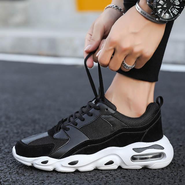 Zapatillas gruesas para hombre, zapatillas de deporte para papá, zapatos de plataforma alta, zapatillas clásicas de marca, zapatillas blancas y