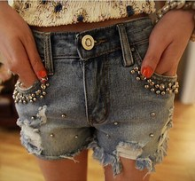 Ladies Short Feminino Jean Shorts Pearls Beading Plus Size 5Xl Women Street Fashion Ripped Hole Jeans