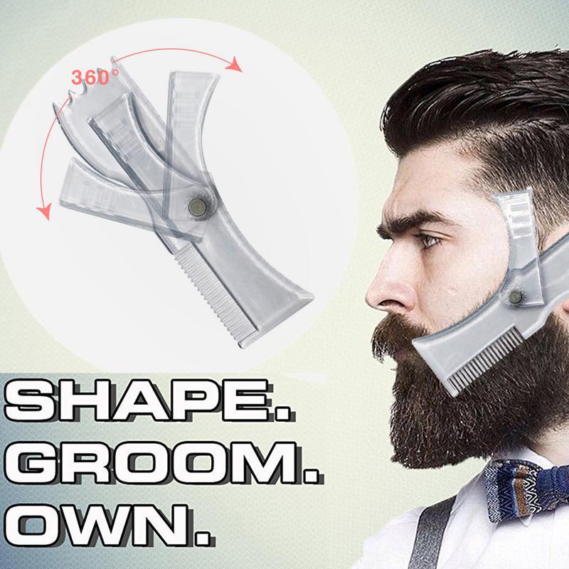 Beard Shaping Tool Trimming Shaper Template Comb Transparent Men's Beards Combs Beauty Tool For Hair Beard Trim Templates