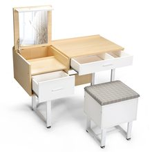 Vanity Set with Mirror and Storage Stool, White Wooden Dressing Table Writing Desk For Home Use Professional(China)