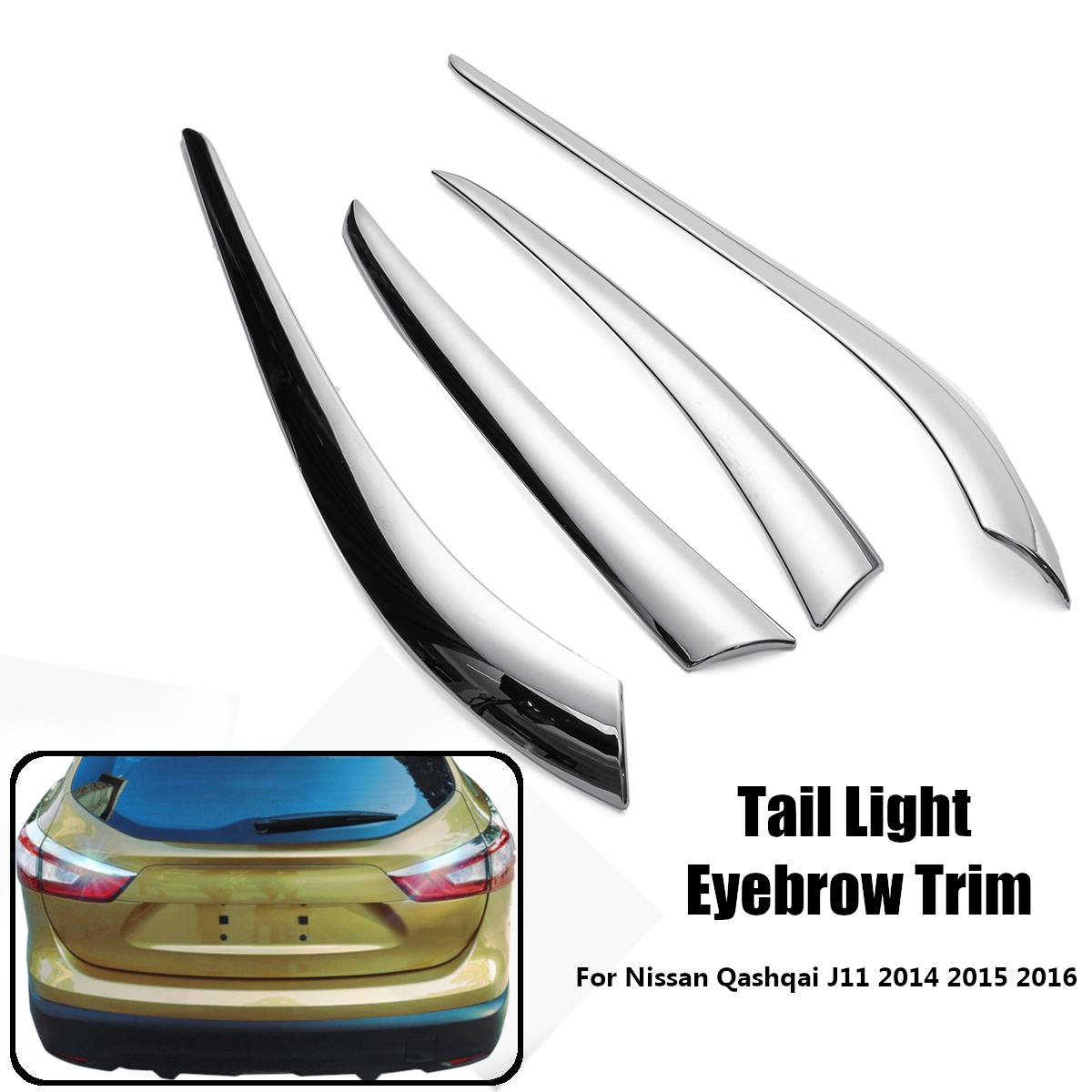 for <font><b>Nissan</b></font> <font><b>Qashqai</b></font> J11 2014 2015 <font><b>2016</b></font> Car Styling Eyelid Car Tail Light Lamp Eyebrow Cover Trim Chrome Decoration <font><b>Accessories</b></font> image