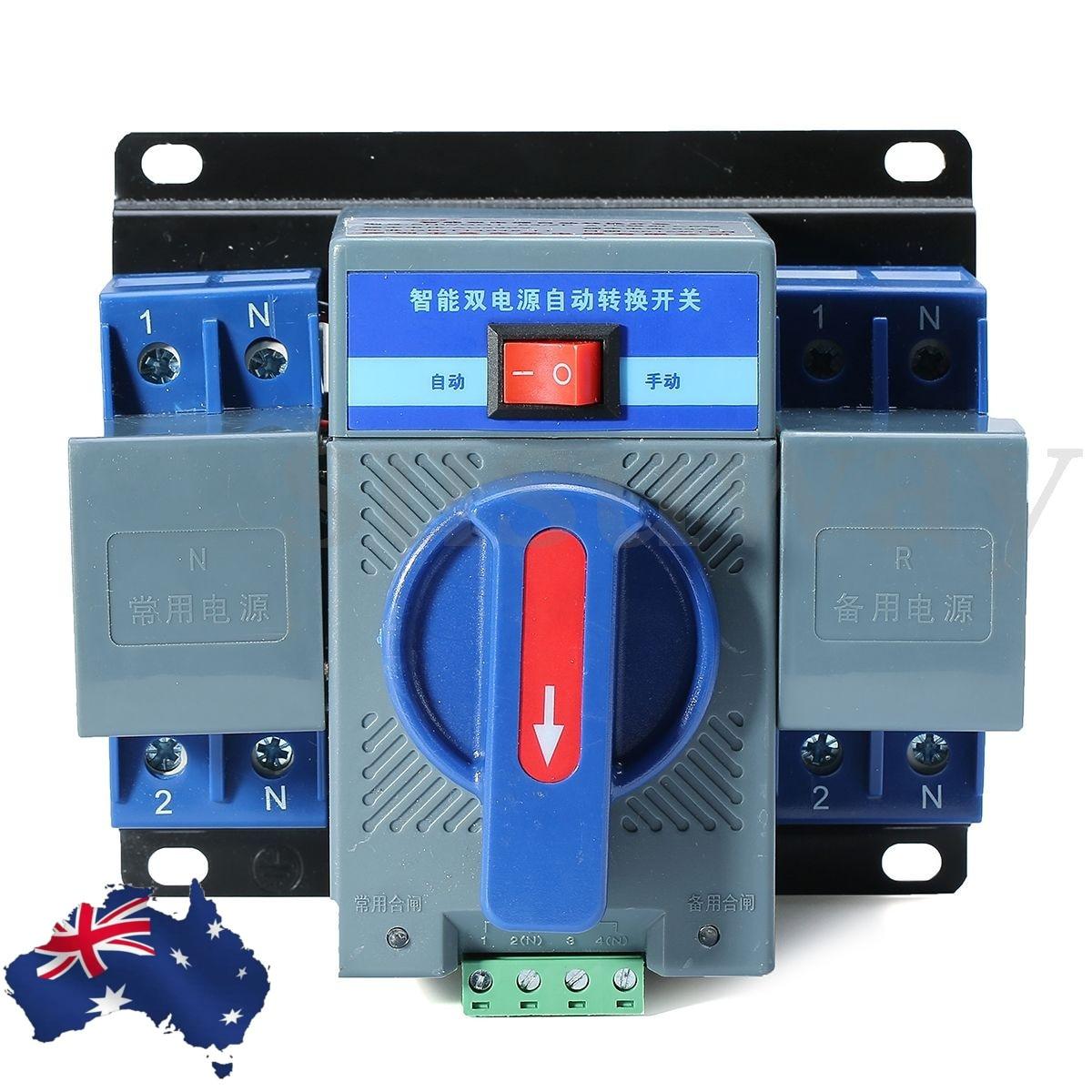 New 1Pcs 63A 2P 50HZ/60HZ Dual Power Automatic Transfer Switch 150*137*118mm Automatic Power Converter CircuitBreaker White BlueNew 1Pcs 63A 2P 50HZ/60HZ Dual Power Automatic Transfer Switch 150*137*118mm Automatic Power Converter CircuitBreaker White Blue
