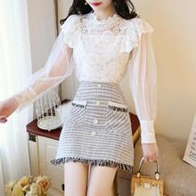 2019 spring women outfit half turtle neck blouse top skirt 2 pcs clothing set girl vestido sweet fashion clothes SALE Wholesale