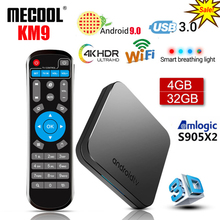 MECOOL KM9 4G 32G Android 9.0 Smart TV Box Amlogic S905X2 DDR4 USB3.0 4K Set Top Box 2.4G/5G Dual WIFI Bluetooth 4.1 Media Palye mecool m8s pro android 7 1 amlogic s912 64 bit quad core smart tv box 3gb ddr4 32gb flash built in 2 4g 5g wifi set top box