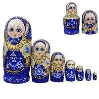 7pcs/set New Wooden Russian Nesting Dolls Braid Girl Toy Traditional Matryoshka Wishing Dolls for Birthday YJS Dropship