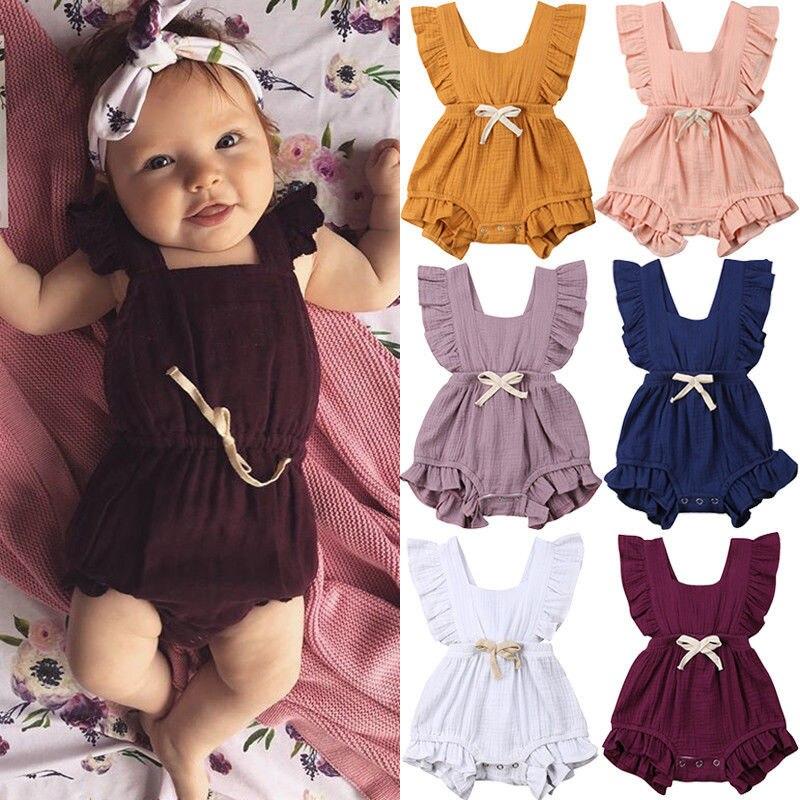 0-24 m lindo bebé niñas mameluco de algodón vestido de bebé recién nacido bebé chica volantes mameluco de verano mono sin mangas trajes playsuit