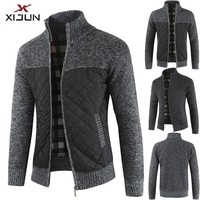 Xijun Antumn and Winter Thick Fleece Sweaters Men Long sleeve Stand Fleece Zipper Cardigan Black and Gray Patchwork Coats Man