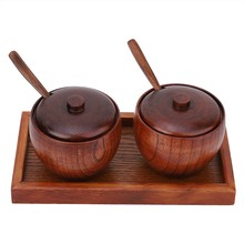 Wood Seasoning Storage Box Salt Pepper Condiment Spice Containers for Kitchen Accessory Spoon Box and Stand 2pcs Set(China)