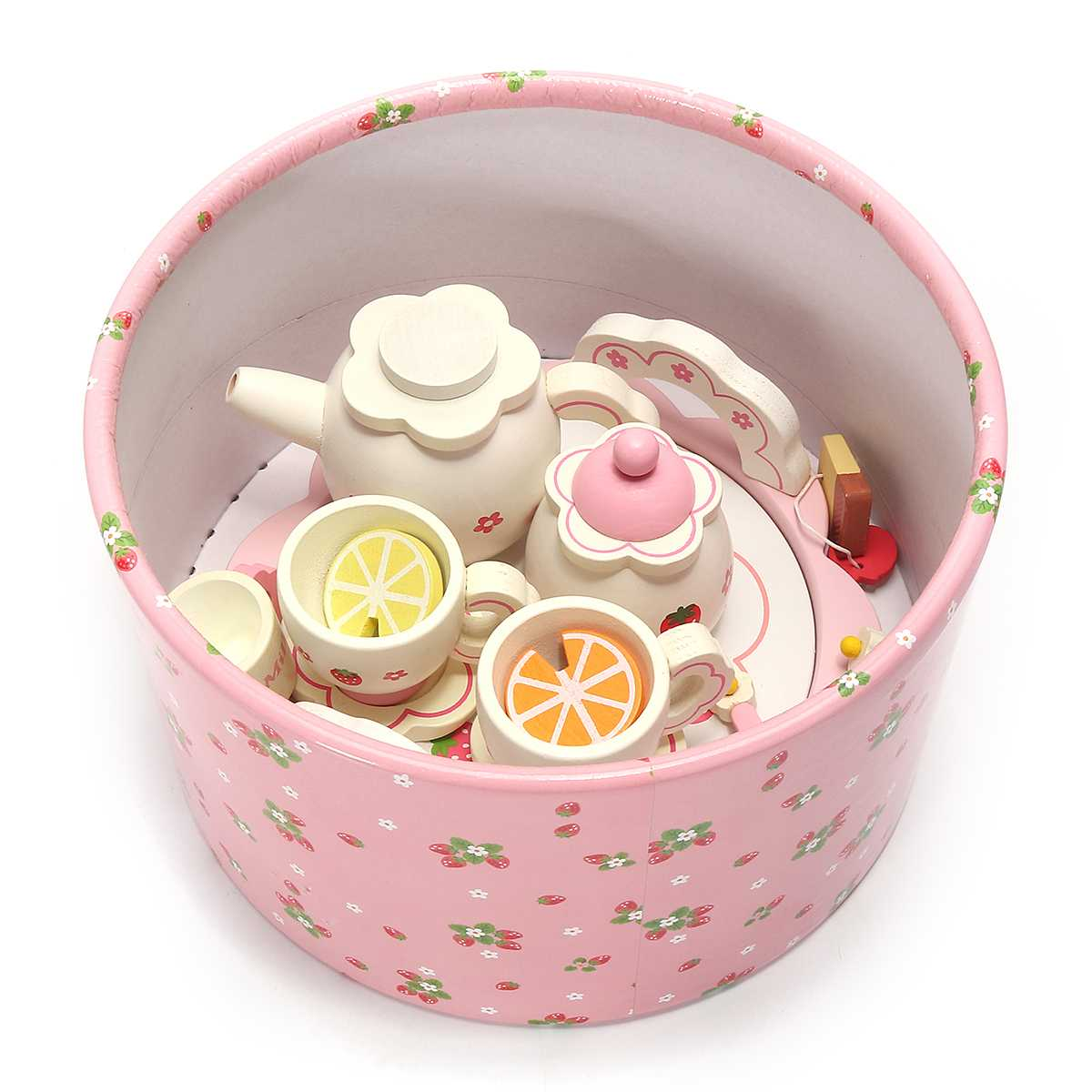 Children Role Pretend Play Wooden Kids Tea Set Educational Kitchen Toys Simulation Cups Teapot Tray Bowl Kids Girls Gifts Pink