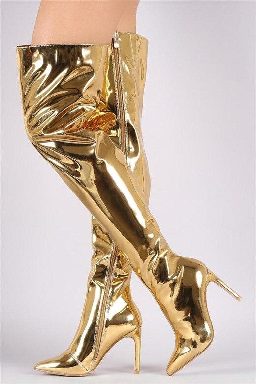 Por Espejo Botas Silver Mujer De Tacón Zapatos Encima Cuero Sexy Rodilla Alto Muslo black gold Brillante Patente Gold La rose Performance 5wawWx8