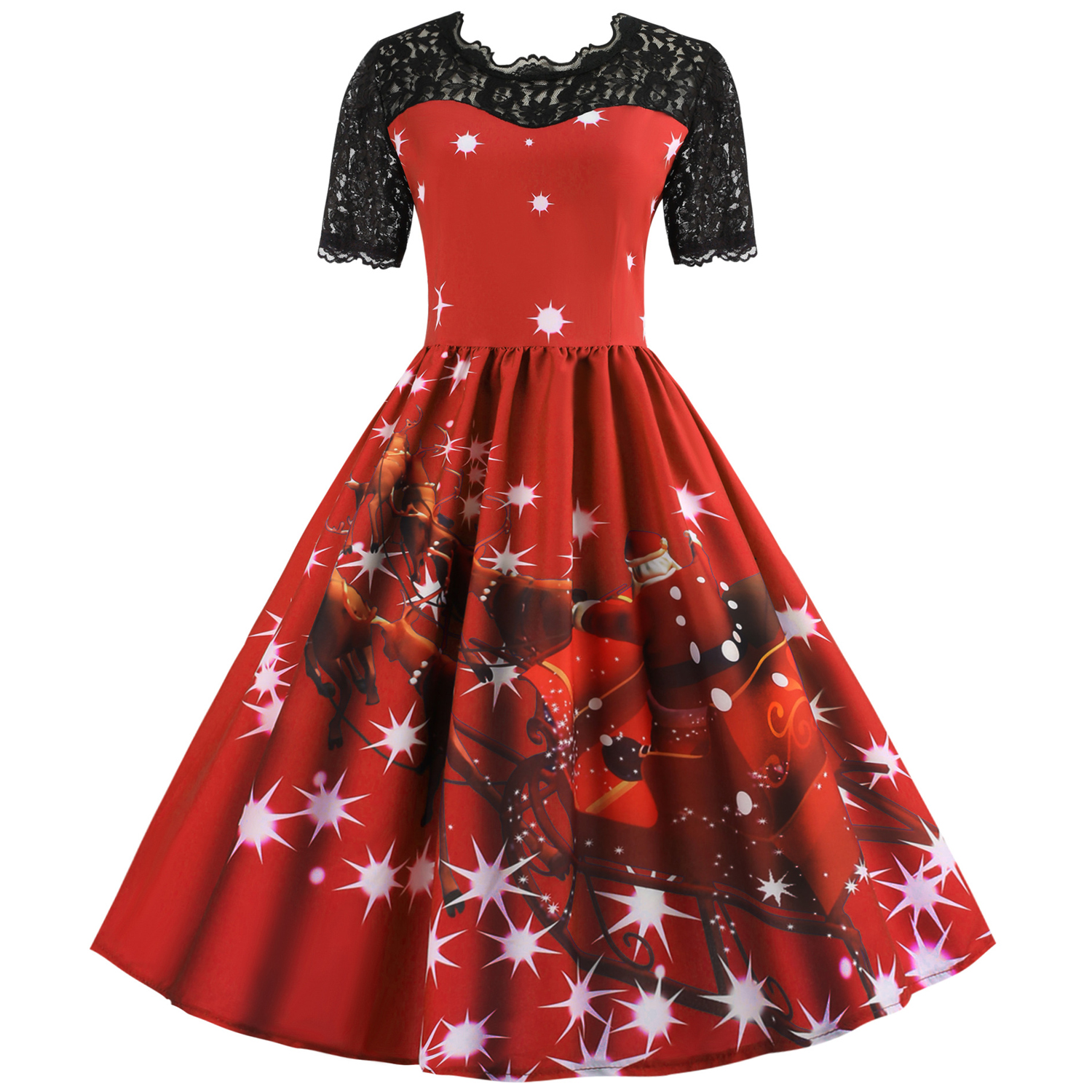 Womens Christmas Gifts.Us 11 01 48 Off Womens Christmas Gifts Santa Claus Print Lace Retro Short Sleeve Swing Party Dresses In Dresses From Women S Clothing On Aliexpress