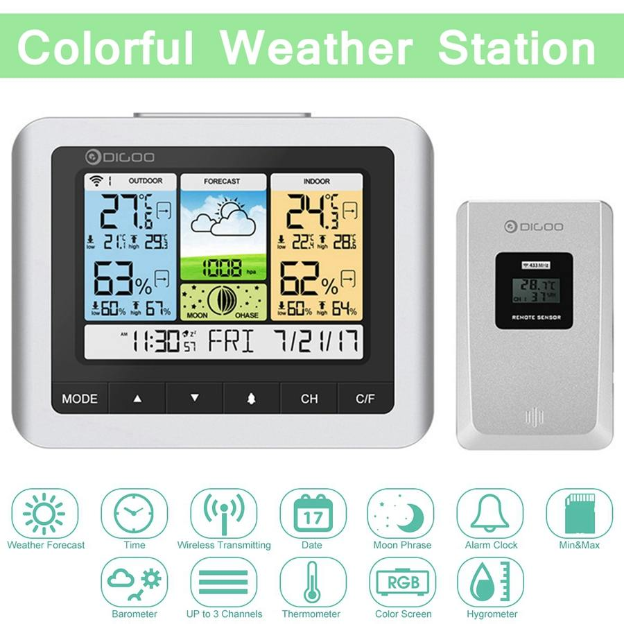 Digoo DG TH8888 Digital Thermometer Humidity Meter White Color Wireless Weather Station Home USB Outdoor Forecast Sensor Clock