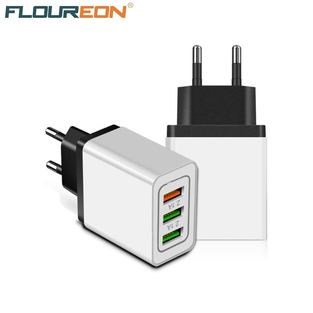 Быстрое зарядное устройство для мобильного телефона Floureon Универсальный адаптер питания 3USB 5В 2.4A Быстрая зарядка для смартфона