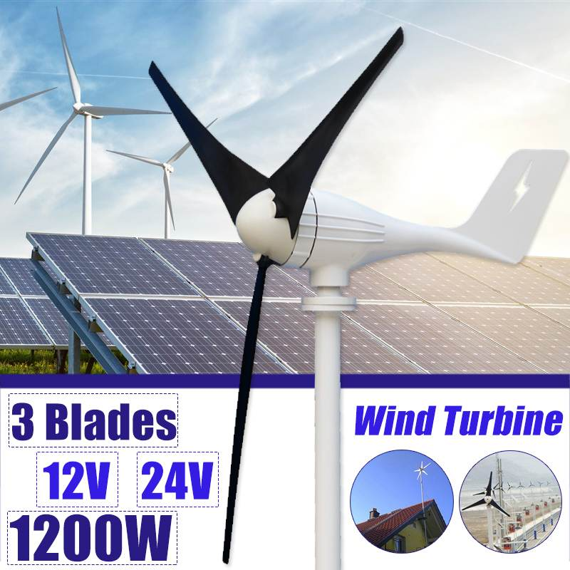 1200W 12V 24 Volt 3 Nylon Fiber Blade Horizontal Home Wind Turbines Wind Generator Power Windmill Energy Turbines Charge1200W 12V 24 Volt 3 Nylon Fiber Blade Horizontal Home Wind Turbines Wind Generator Power Windmill Energy Turbines Charge