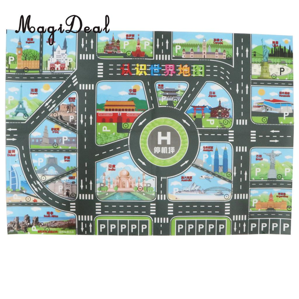 World Map Road Traffic System Playmat Activity Play Mat Carpet Educational Toy For Playing Cars & Train Track Playroom Fun