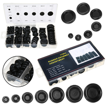 170pcs/box Rubber Grommet Hole Plug Set Car Electrical Wire Cable Gasket Kit Black Round Fastener Grommets Decoration