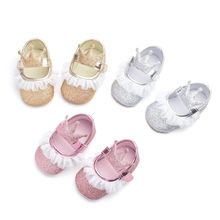 Toddler Baby First Walkers Shoes Newborn Kids Girls Princess Sequin Soled Crib Shoes Cute Chiffon Crown Little Girls Shoes