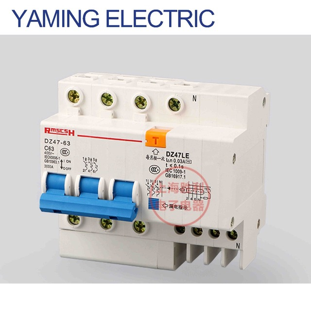 p160 dz47le-3p+n 6-63a three phase wire electric shock switch leakage  protection residual current circuit breaker