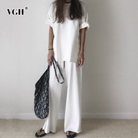 VGH Spring Two Piece Women Suit Short Sleeve O Neck T shirt With Ankle length Female Pants 2019 Fashion Women's Clothing Tide