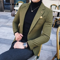 3 Solid Green Blazer Men Black Khaki Wool Blend Blazer Men Autumn Winter 2018 One Button Blazer Homme Suit Jacket Men