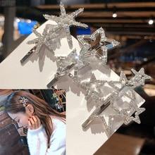 Crystal Hairpins Rhinestone Star Hollow Metal Hair Clip Bridal Barrette Hairpin Geometric Elegant Silver Barrettes Snow