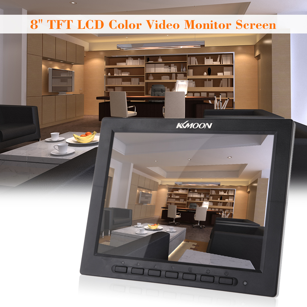8 TFT LCD Color Video Monitor Screen VGA BNC AV Input for PC CCTV Security Remote