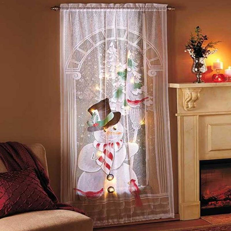 80cmx 40cm Christmas Snowman Curtains Simple Vertical Blackout Curtains Living Room Bedroom Party Smooth Curtains