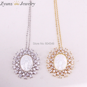Image 1 - 5 Strands ZYZ323 8868 Gold /Silver Color Crystal Zircona Virgin Mary Pendant, Virgin Mary mother of pearl shell pendant Necklace
