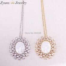 5 nici ZYZ323 8868 złoty/srebrny kolor kryształu cyrkonia wisiorek z maryją, maryja dziewica masa perłowa naszyjnik