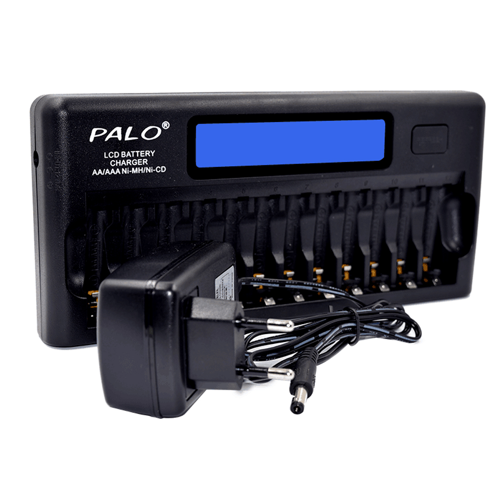 PALO PL NC30 Intelligent Battery Charger 4 LCD Display Smart Charger w 12 Battery Slots for