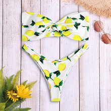 02e2bd14ed1 Bandeau Sexy Bikini Set Lemon Print Twist Strapless Wire Free Bathing Suit  Women Swimwear Swimsuit Beach