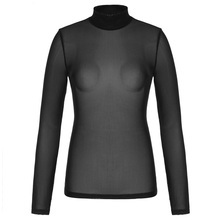 Women Shirt Sheer Mesh Long Sleeve Turtle Neck See-through Spring Tops