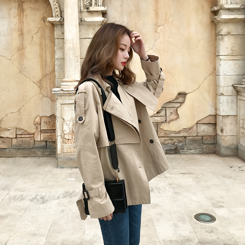 Fashion Women Short   Trench   Coat Double Breasted Spring Autumn Ladies Clothes Khaki Solid Casual Coat with Storm Flaps