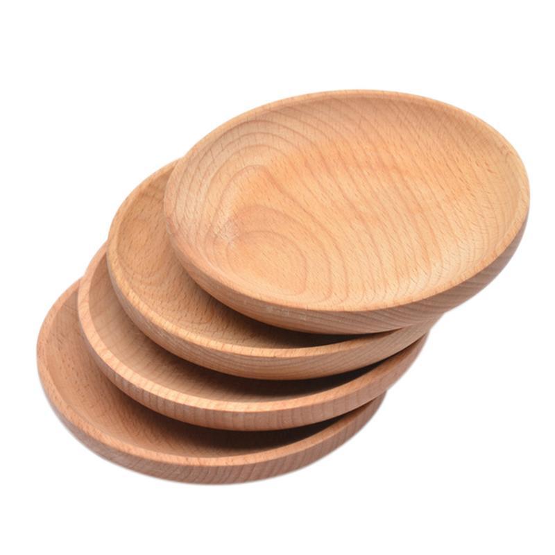 1 pieza de madera de haya plato redondo PARA CENA comida occidental bandeja de servicio de postre redondo Snack fruta seca organizador titular decoración del hogar