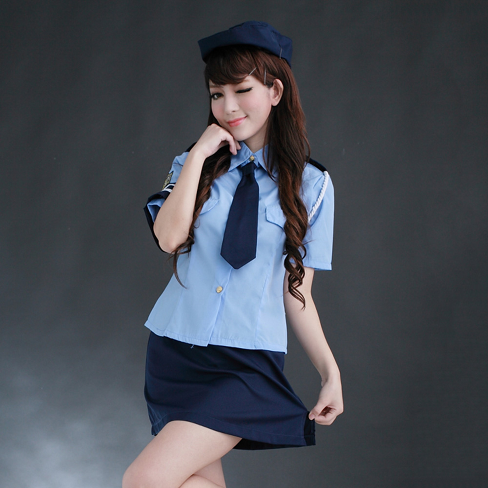 VESTLINDA Sexy Shirt Collar Short Sleeve Blouse +Solid Color Wrapped Skirt Women's Cosplay Costume On Sale