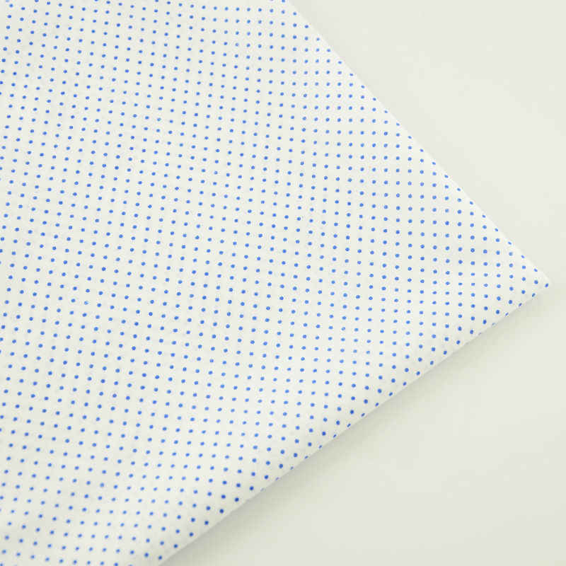 New Arrivals Home Textile Sewing 100% Cotton Fabric Small Blue Dots Design Cloth Dolls Plain Telas Tecido Tissue Patchwork Craft