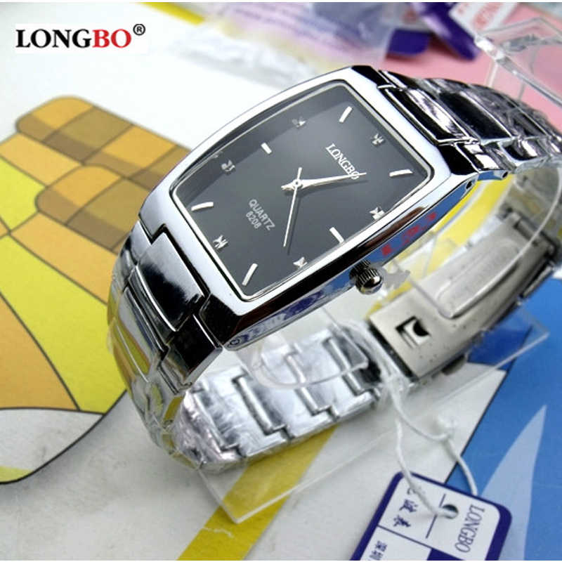 New Arrival Fashion LongBo Brand Full Stainless Steel Men Business Watch casual Waterproof Wristwatches Quartz Square Watches